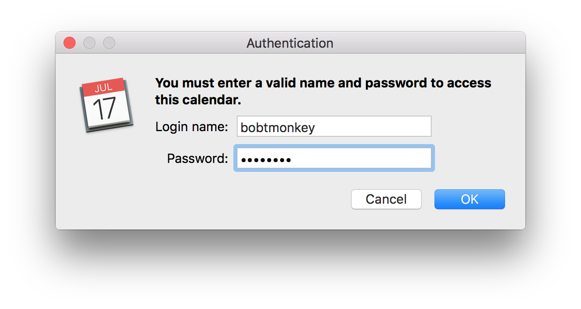Apple Calendar authentication