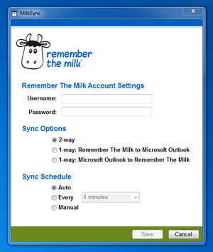 MilkSync for Microsoft Outlook settings window